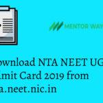 Download NTA NEET UG Admit Card 2019 from nta.neet.nic.in